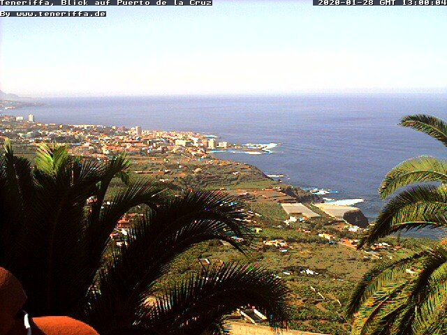 Puerto de la Cruz view from Santa Ursula Webcam