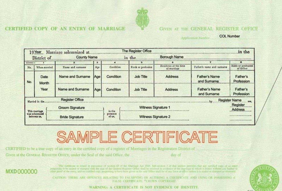 UK Marriage Certificate